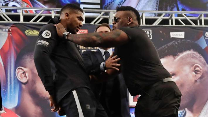 Joshua vs Miller: Anthony Joshua shoved by Jarrell 'Big Baby' Miller at New York press conference