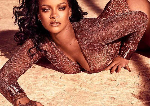 Rihanna strikes suggestive pose in a low-cut leotard (Photos)