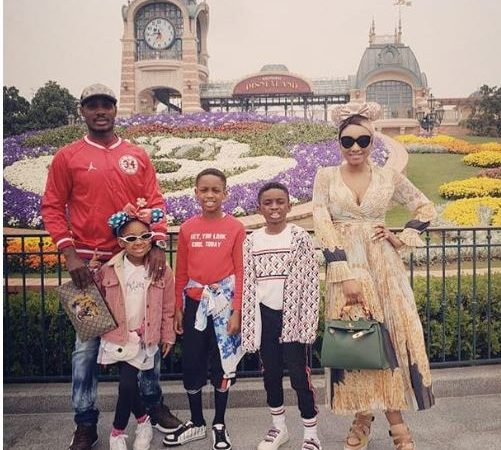 Beautiful family photo of Odion Ighalo, his wife and children