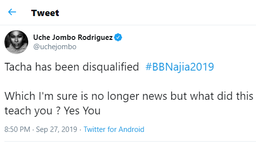 What lessons did Tacha's disqualification teach you? – Uche Jombo asks