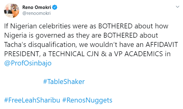 Reno Omokri shades Nigerian celebrities commenting on Tacha's disqualification