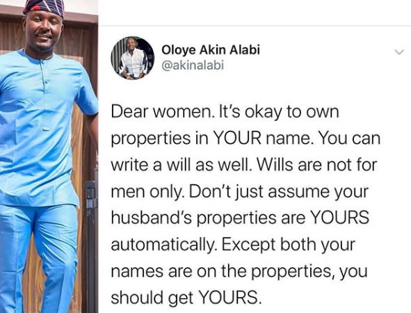 Lawmaker, Akin Alabi, tells married women it's OK to buy and own properties in their own name