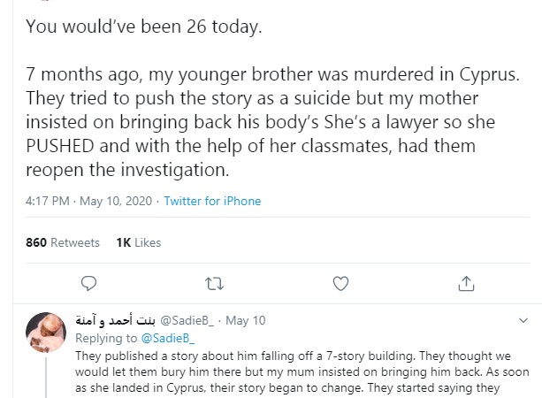 """Nigerian lady narrates how her brother was """"murdered"""" in Cyprus and the alleged attempt to cover it up"""